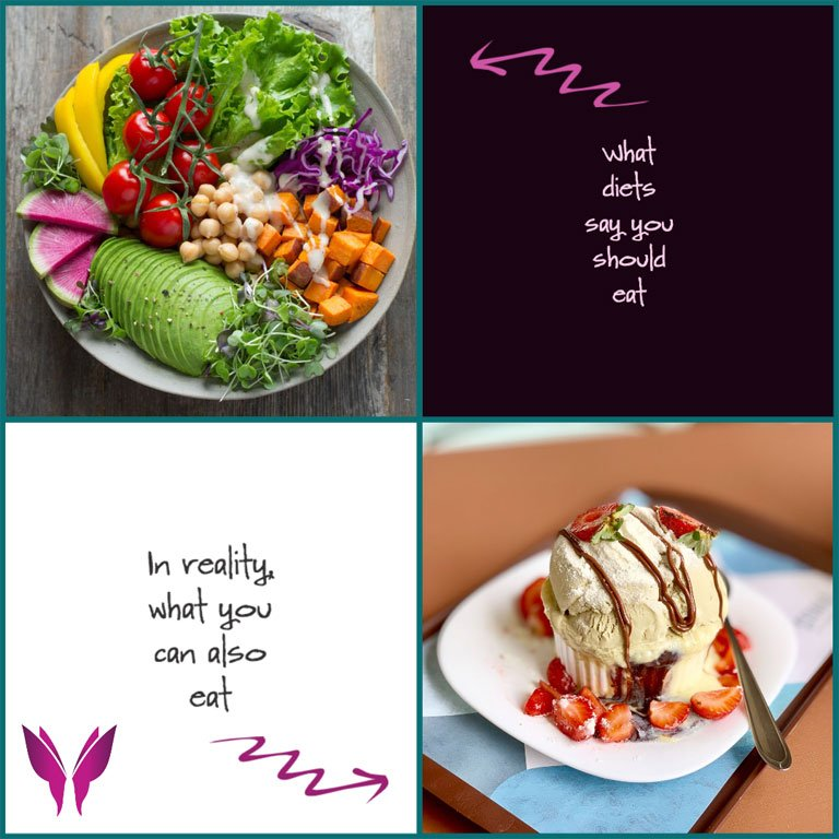 shelli johnson weight loss, shelli johnson start where you are, shelli johnson author, diets say you should eat this with an arrow pointing to a salad, in reality what you can also eat with an arrow pointing at some ice cream, shelli johnson butterfly logo as a reminder that you can always transform your life